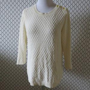TALBOTS Beige Crewneck Knit Sweater - Size Medium